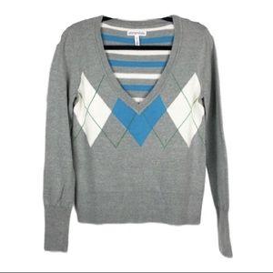 Aeropostale Argyle Striped Sweater Blue Gray Large